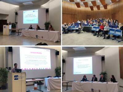 Collage of images of the event with the presentation and the attendees.